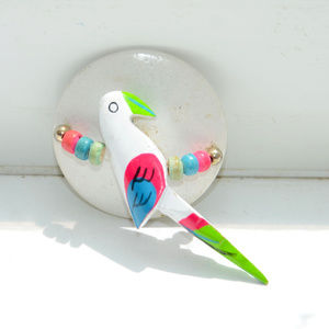 vintage white wooden wood parrot bird pin brooch